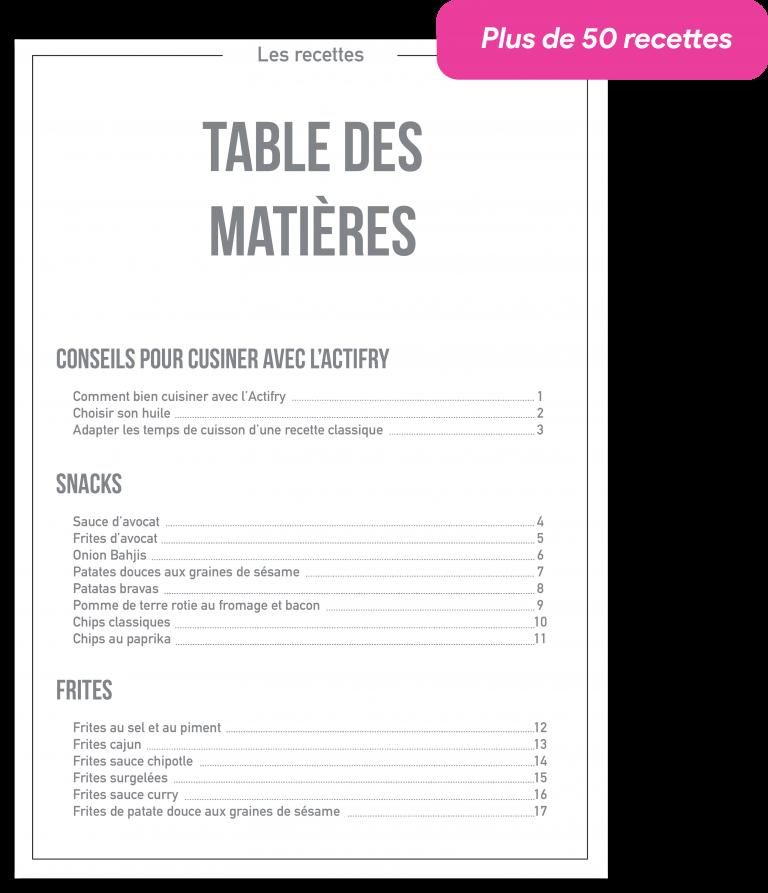 Table des matières du livre de recette actifry unecuilleredhuile.com